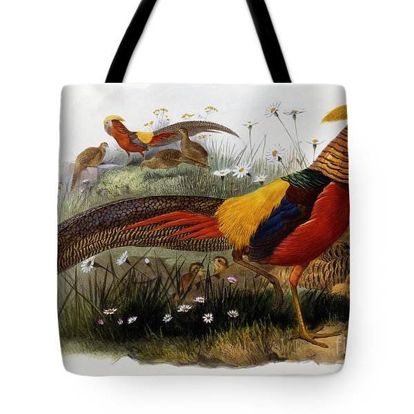 Golden Pheasants Tote Bag by Joseph Wolf