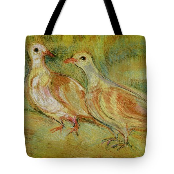 Golden Pigeons Tote Bag