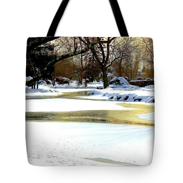 Golden Pond Reflections Tote Bag by Judy Palkimas