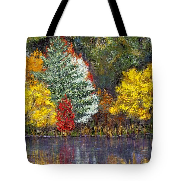 Tote Bag featuring the painting Autumn Tapestry by Margaret Bobb