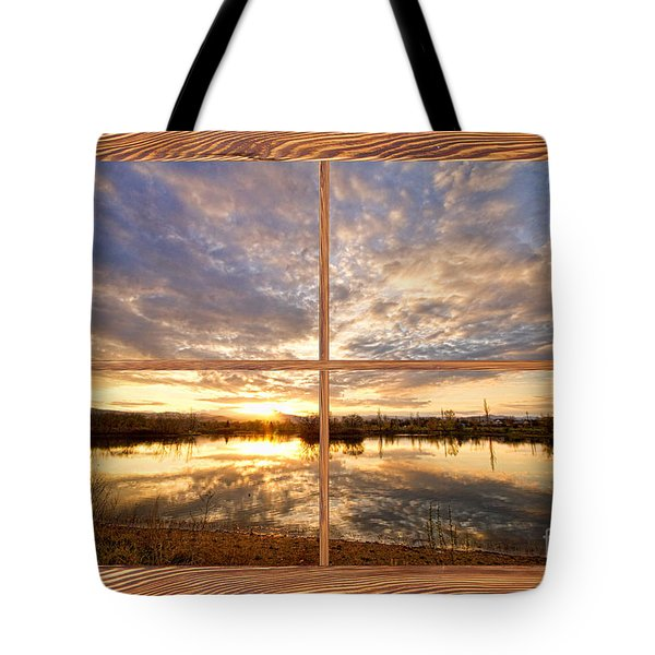 Golden Ponds Sunset Reflections  Barn Wood Picture Window View Tote Bag by James BO  Insogna