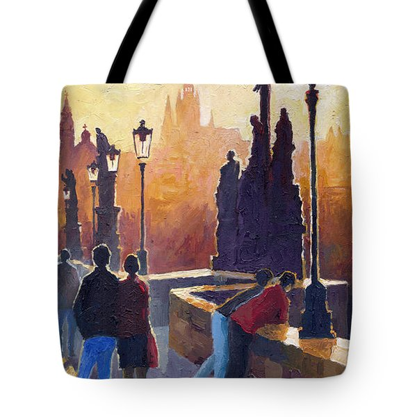 Golden Prague Charles Bridge Tote Bag by Yuriy Shevchuk
