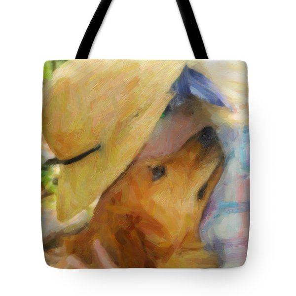 Golden Retriever- A Loving Heart Tote Bag by Kenny Francis