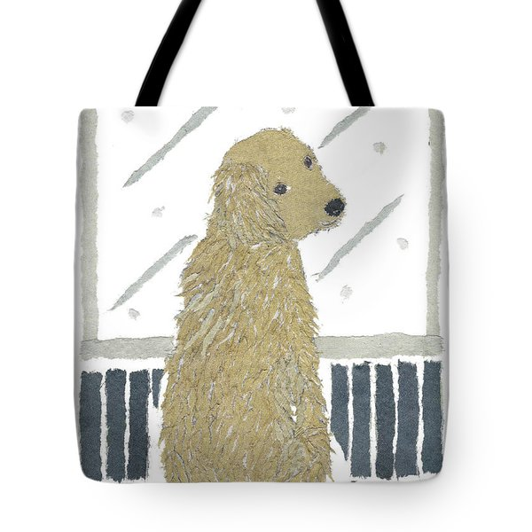 Golden Retriever Art Hand-torn Newspaper Collage Art Tote Bag by Keiko Suzuki Bless Hue
