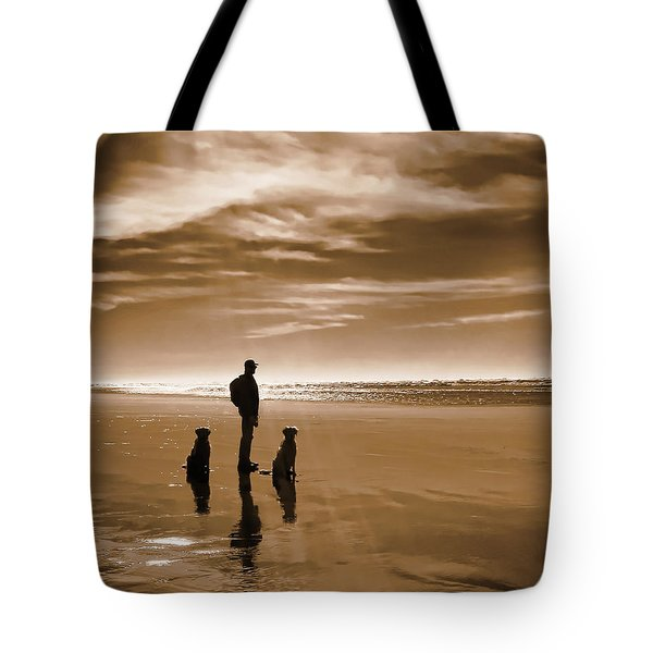 Golden Retriever Dogs End Of The Day Sepia Tote Bag by Jennie Marie Schell