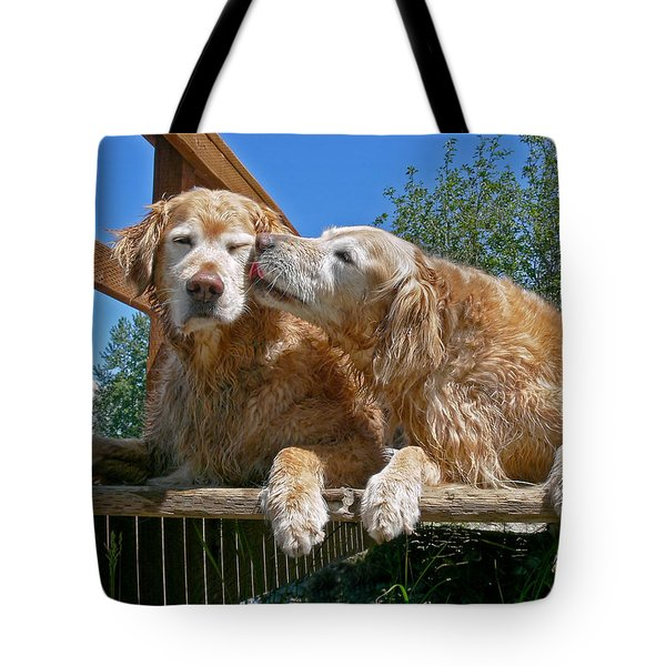 Golden Retriever Dogs The Kiss Tote Bag by Jennie Marie Schell