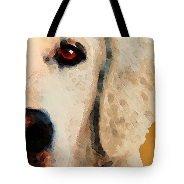 Tote Bag featuring the painting Golden Retriever Half Face By Sharon Cummings by Sharon Cummings