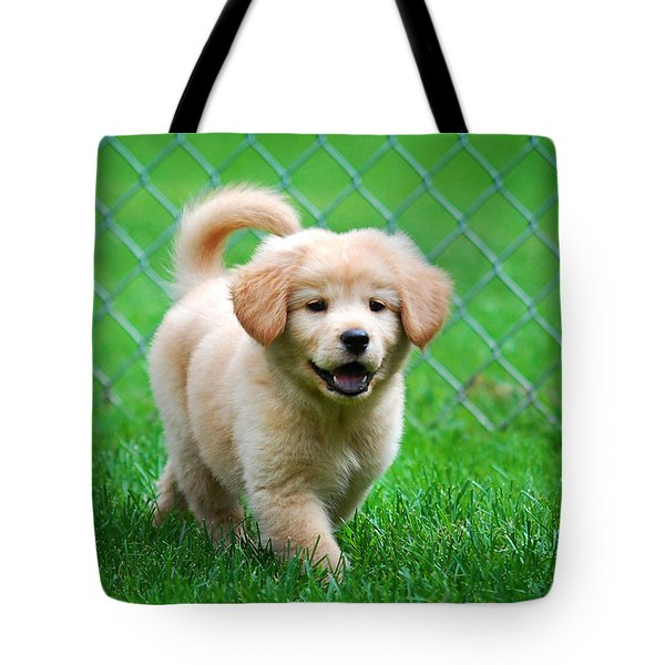 Golden Retriever Puppy Tote Bag by Christina Rollo