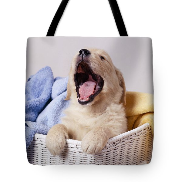 Golden Retriever Puppy Yawning Tote Bag