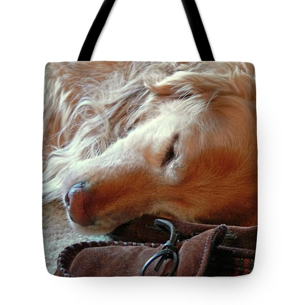 Golden Retriever Sleeping With Dad's Slippers Tote Bag by Jennie Marie Schell