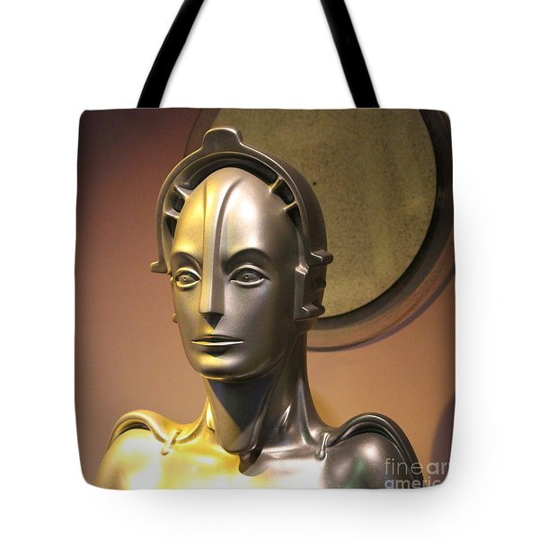 Tote Bag featuring the photograph Golden Robot Lady Closeup by Cynthia Snyder
