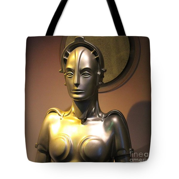 Tote Bag featuring the photograph Golden Robot Lady by Cynthia Snyder