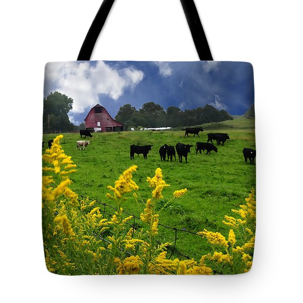 Golden Rod Black Angus Cattle  Tote Bag