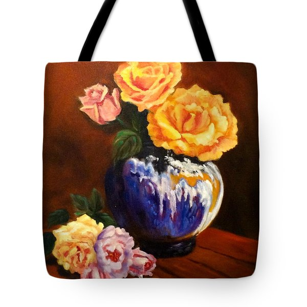 Tote Bag featuring the painting Golden Roses by Jenny Lee