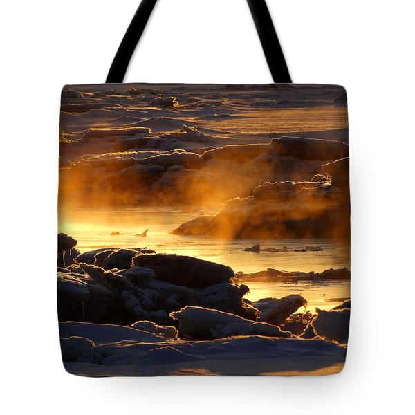 Golden Sea Smoke At Sunrise Tote Bag