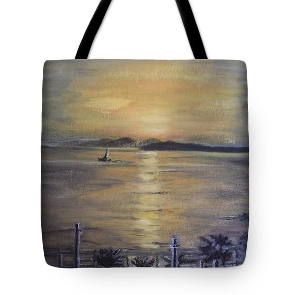 Golden Sea View Tote Bag
