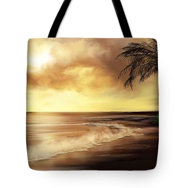 Golden Sky Over Tropical Beach Tote Bag