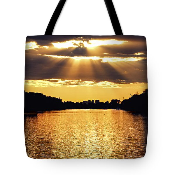 Golden Sunrays Tote Bag