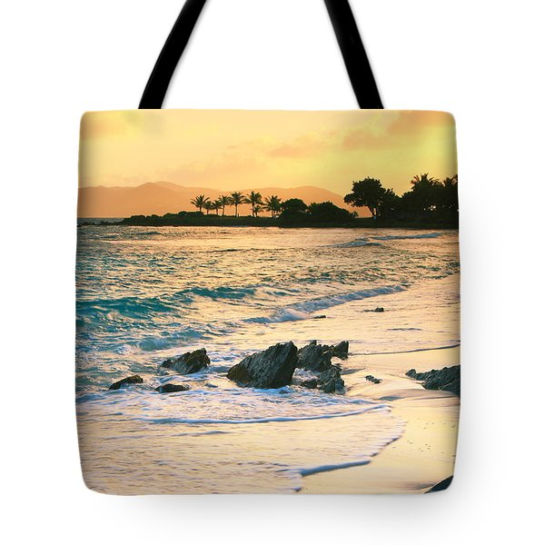 Golden Sunrise On Sapphire Beach Tote Bag by Roupen  Baker