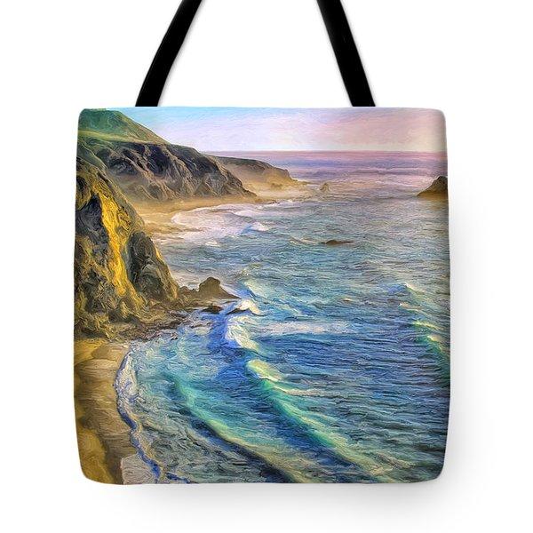 Golden Sunset At Big Sur Tote Bag