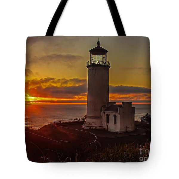 Golden Sunset At North Head Lighthouse Tote Bag by Robert Bales