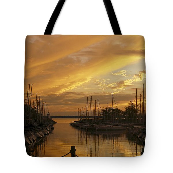 Golden Sunset With Sailboats Tote Bag