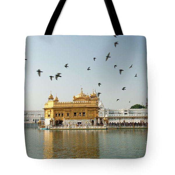 Tote Bag featuring the photograph Golden Temple In Amritsar by Yew Kwang