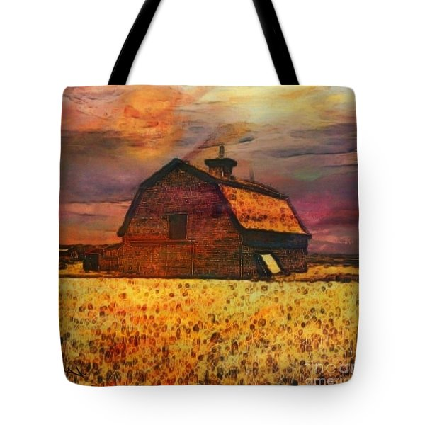 Golden Wheat Sunset Barn Tote Bag by PainterArtist FIN