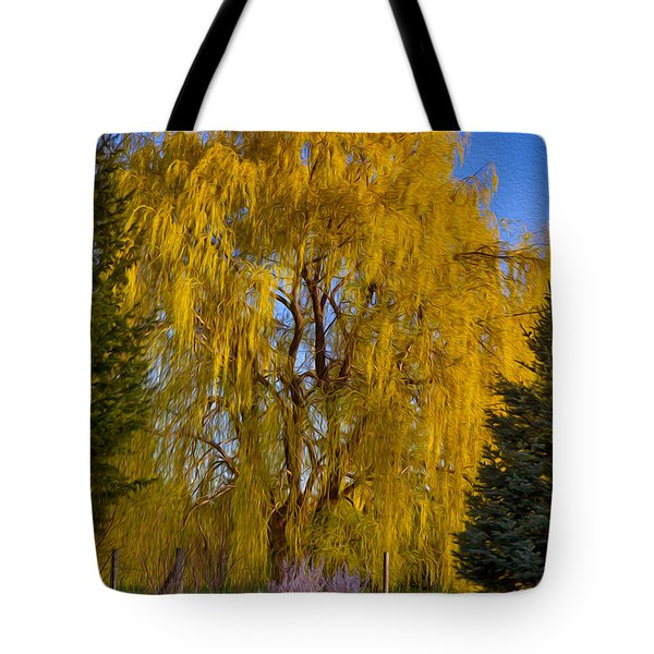 Golden Willow Tree Tote Bag by Omaste Witkowski