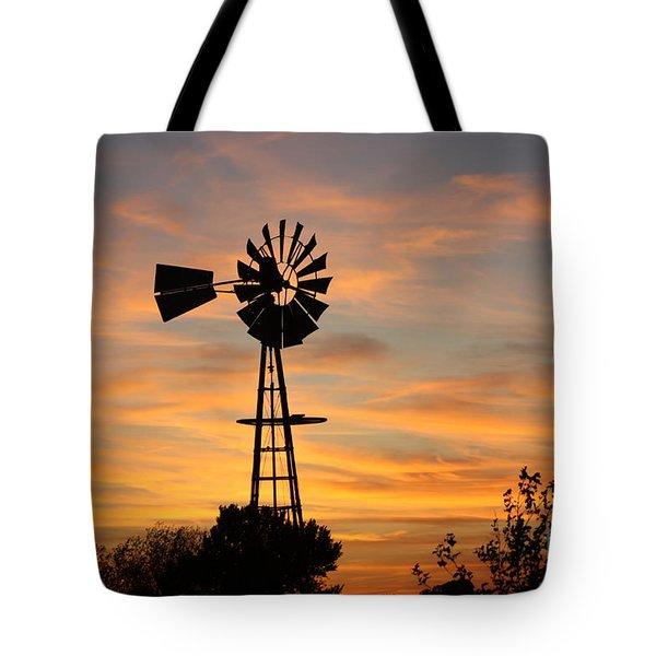 Golden Windmill Silhouette Tote Bag by Robert D  Brozek
