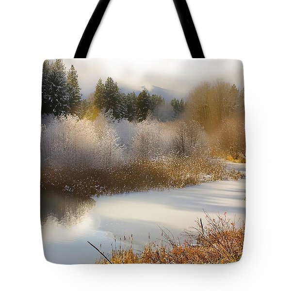 Golden Winter Tote Bag by Sonya Lang