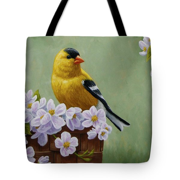 Goldfinch Blossoms Greeting Card 3 Tote Bag