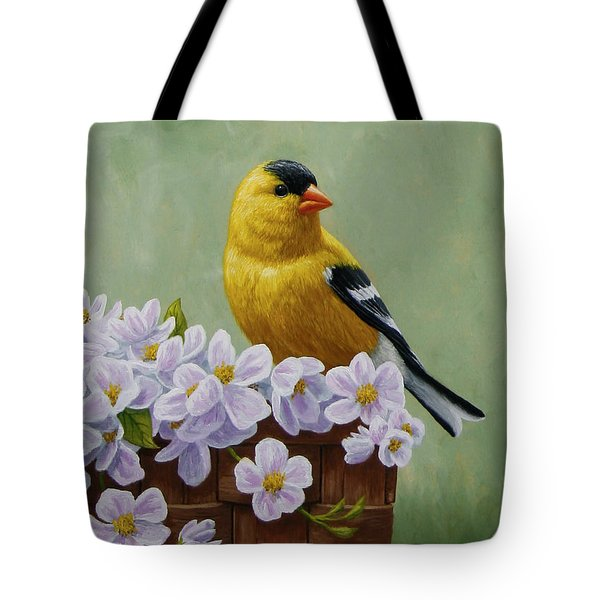 Goldfinch Blossoms Greeting Card 3 Tote Bag by Crista Forest