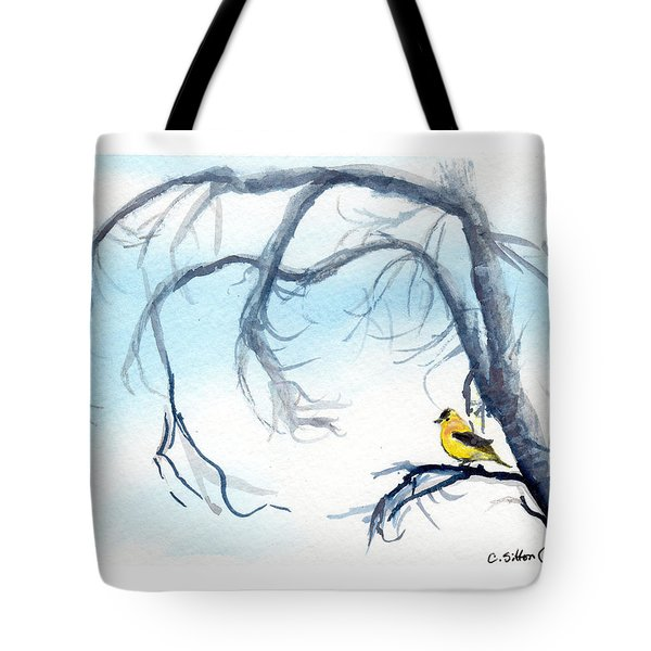 Goldfinch In Tree Tote Bag
