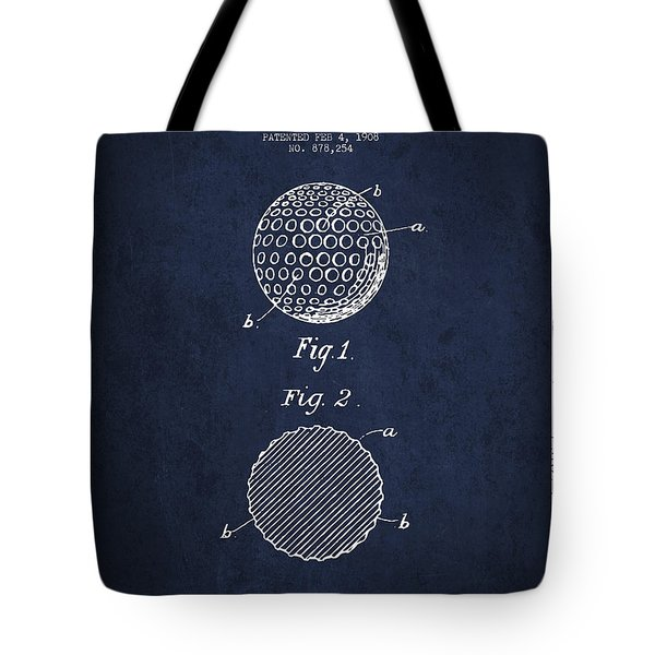 Golf Ball Patent Drawing From 1908 - Navy Blue Tote Bag
