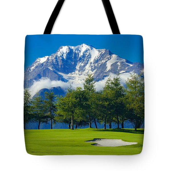 Golf Course In The Mountains - Riederalp Swiss Alps Switzerland Tote Bag by Matthias Hauser