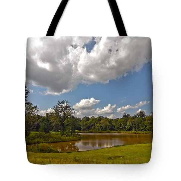 Tote Bag featuring the photograph Golf Course Landscape by Alex Grichenko