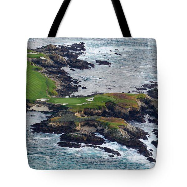 Golf Course On An Island, Pebble Beach Tote Bag