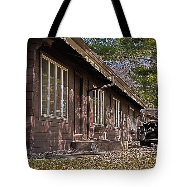 Tote Bag featuring the painting Golf Lodge by Deborah Klubertanz