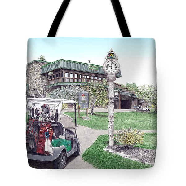 Tote Bag featuring the painting Golf Seven Springs Mountain Resort by Albert Puskaric