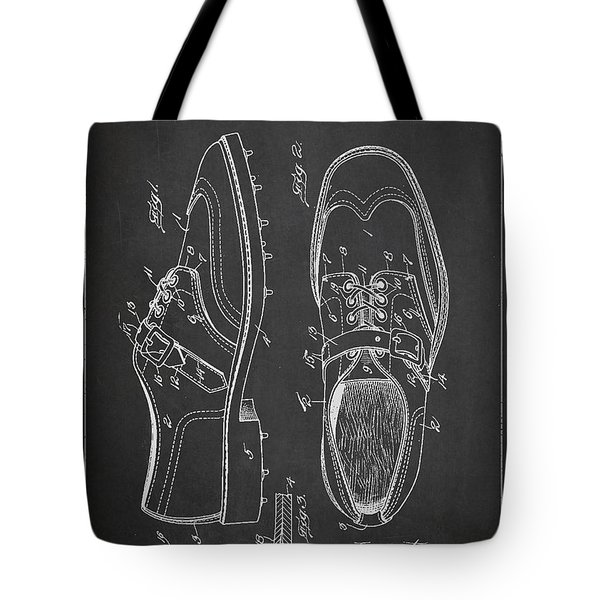 Golf Shoe Patent Drawing From 1927 Tote Bag by Aged Pixel