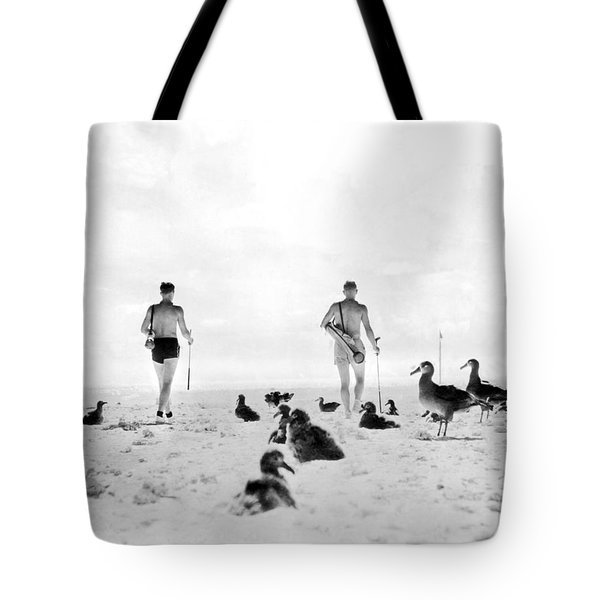 Golf With Gooney Birds Tote Bag by Underwood Archives