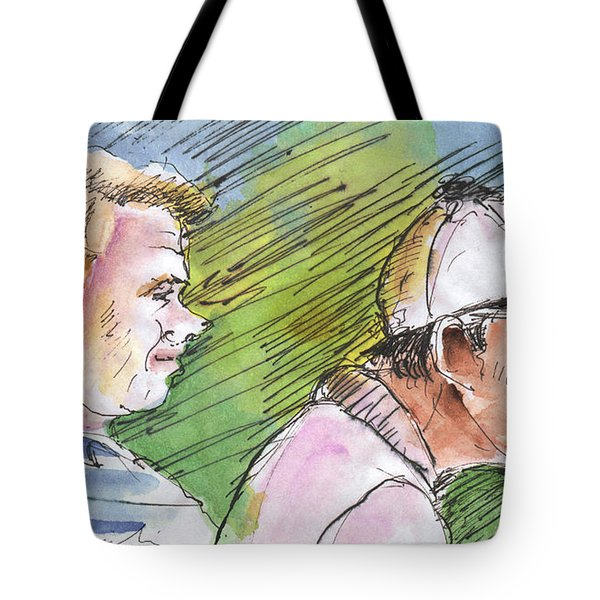 Golfers In Soufflenheim 01 Tote Bag by Miki De Goodaboom