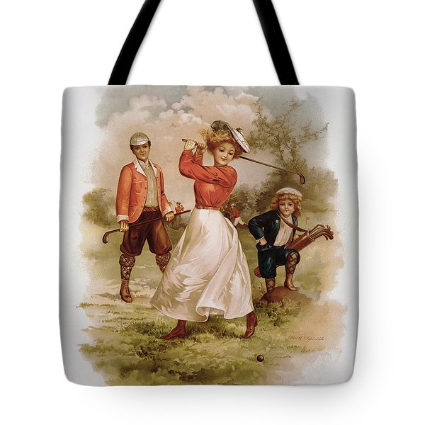 Golfing Tote Bag by Ellen Hattie Clapsaddle