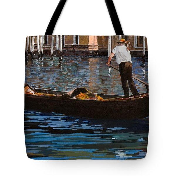 Gondoliere Sul Canale Tote Bag by Guido Borelli