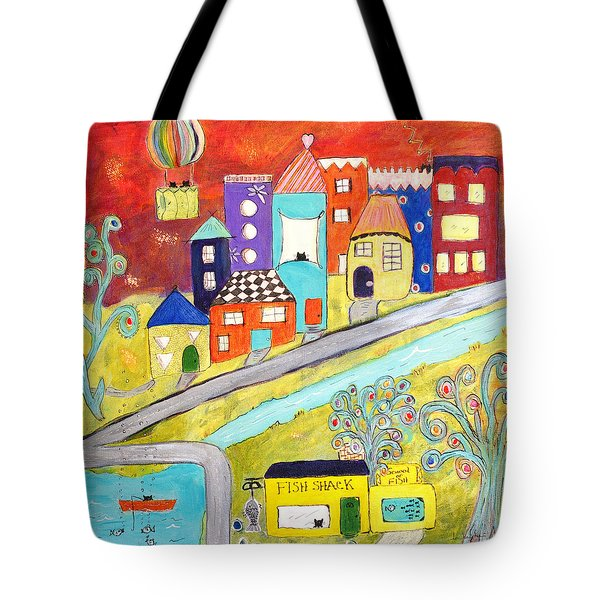 Tote Bag featuring the painting Gone Fishin' by Lou Belcher