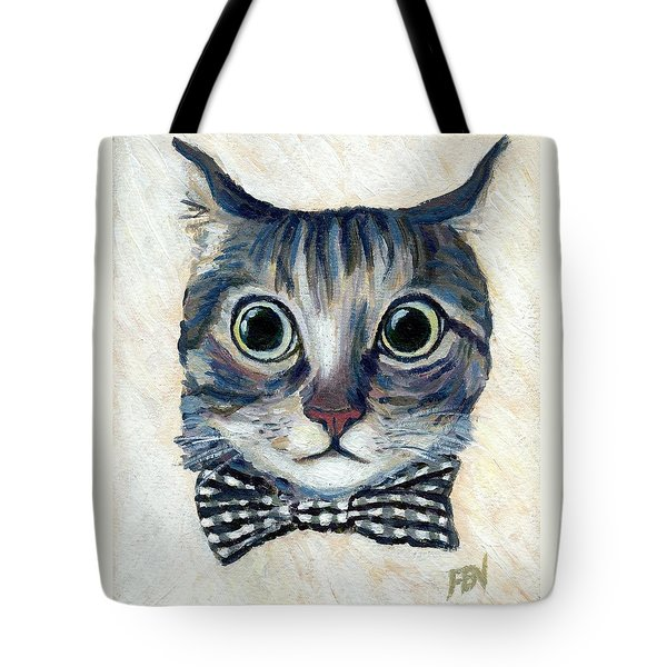 Good Boy Cat With A Checked Bowtie Tote Bag by Jingfen Hwu