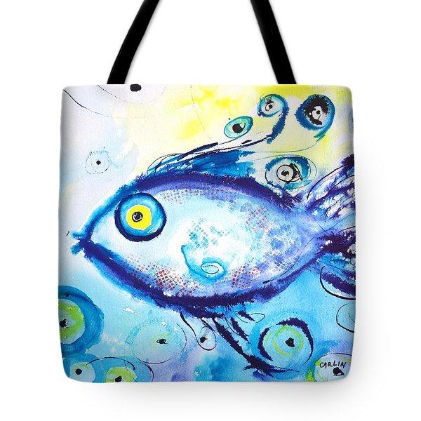 Good Luck Fish Abstract Tote Bag by Carlin Blahnik