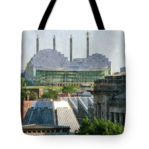 Good Morning Kansas City Skyline Painterly Tote Bag by Andee Design