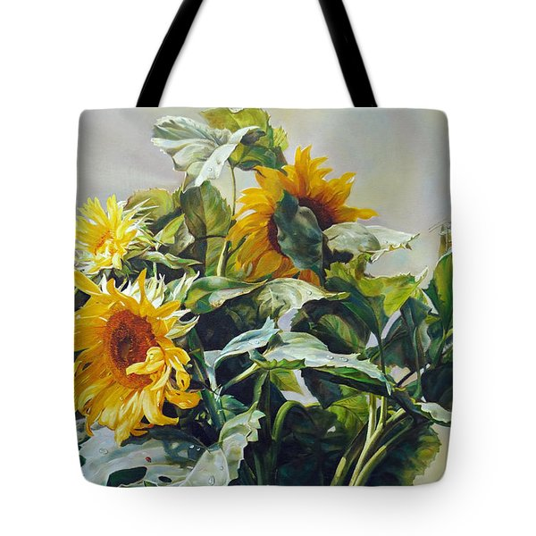 Tote Bag featuring the painting Good Morning - Sunflower In Love by Svitozar Nenyuk